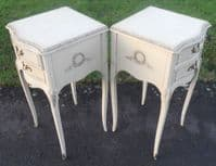 Pair Painted White Bedside Cabinets